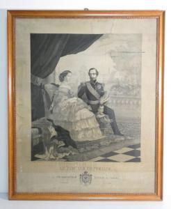 Straordinario ricamo su seta raffigurante Napoleone III e la famiglia imperiale, realizzato dal tessitore Michel Marie François CARQUILLAT, su disegno di Saignemorte e Bruyas. Lione Francia, 1858