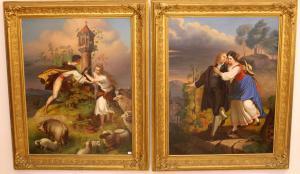 """Paire de tableaux représentant des """"scènes galantes"""""""