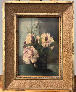 Peinture à l'huile sur bois avec pot de fleurs.