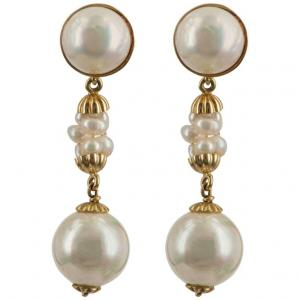 Boucles d'oreilles avec perles montées en or