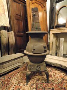 dars386 - poêle en fonte, 19e siècle, taille cm 45 xh 123
