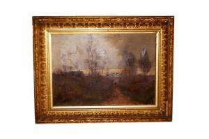 """Huile sur toile """"Paysage au crépuscule"""" de 1800"""