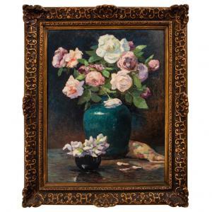 """""""Roses en vase sur la table"""" Peinture française"""