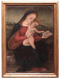 """Peinture : """"Vierge à l'enfant"""", Toscane, '800"""