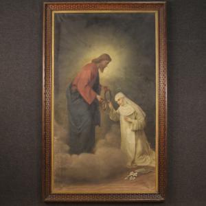 Ancien tableau italien Christ et Sainte Catherine de Sienne du 19ème siècle