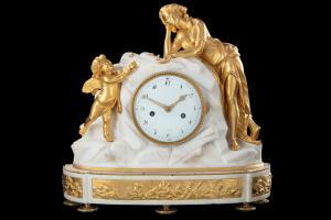LXVI horloge marbre et bronze