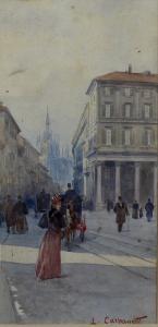L. Carpanetti, Vue du Corso Vittorio Emanuele à Milan, XIXe siècle
