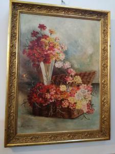 Cadre avec fleurs signées