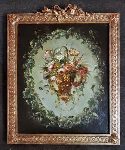 """Tableau """"Guirlande avec un panier de fleurs au centre""""."""