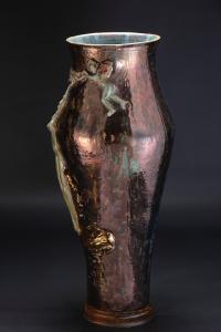 Vase en céramique décoré lustre des années 50 Federico Quatrini