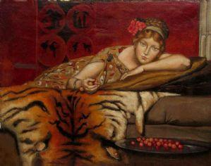 "LA DAMA CON LE CILIEGE - huile sur toile signée JF 29 - tirée du tableau ""Cerises"" de 1873 par SIR LAWRENCE ALMA TADEMA (Bronrijp 1836 - Weisbaden 1912)"