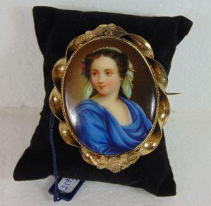 Broche en or 14k avec miniature en porcelaine, fine '800