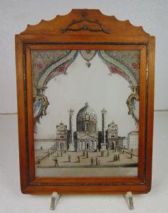 Peinture sur verre avec cadre vintage, représentant l'église de San Carlo à Vienne. Le premier 800, Autriche