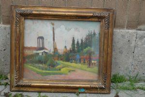 Renato Javarone La piazza di Arona firmatoe datato 1939 olio sutavola