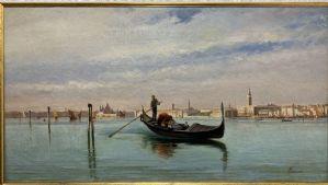 Giovanni Lavezzari, Venise 1817 - Florence 1881, Gondole dans le bassin de San Marco à Venise, huile sur toile cm. 41 x 75 signé en bas à droite