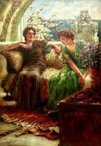 """LA CONVERSATION - huile sur toile - tirée du tableau de 1902 """"Confidences indésirables"""" de SIR LAWRENCE ALMA TADEMA (Bronrijp 1836 - Weisbaden 1912)"""