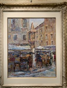 ISE LEBRECHT, Vérone 1881 - 1945, Piazza delle Erbe à Vérone sous la neige