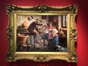 EUGENIO ZAMPIGHI (MODENA 1859-Maranello 1944) Peinture à l'huile extraordinaire sur toile avec cadre doré contemporain