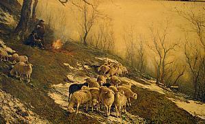 Peinture représentant le pâturage des moutons