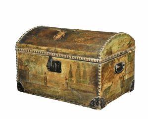 bois Baule, doublé en cuir et peint Venise Sec XVIII
