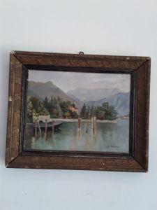 G bonacina vue sur le lac de Côme signée en 1913 avec la garantie de lucia
