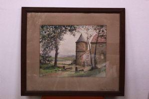 peinture à l'aquarelle sur papier avec paysage verre cadre aquarelle art