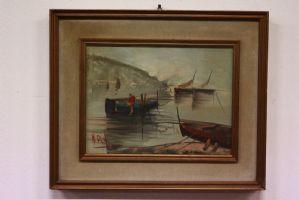 peinture à l'huile peinte sur toile représentant paysage avec peinture sur toile bateaux
