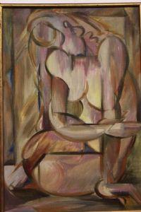 Huile sur toile représentant nu avec de l'huile abstraite technique sur toile abstraite nue