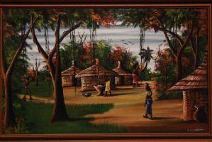 Huile sur toile représentant le paysage africain et l'huile de peinture de village sur toile