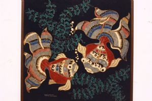 Cadre en Indonésie Tissu imprimé avec tissu imprimé provenant du poisson