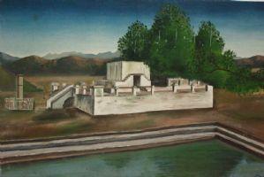 Peinture à l'huile sur toile représentant le paysage avec huile sur toile de peinture architecturale
