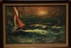 Huile sur panneau représentant une mer houleuse avec peinture sur toile bateaux
