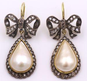 Boucles d'oreilles en or et argent avec diamants taille rose et perles Mabe