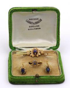 Bourbon 14k Parure broche en or se compose de boucles d'oreilles et bague avec boîte d'origine