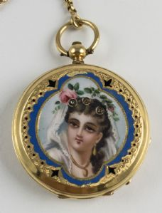 Nun en or avec miniature, fine '800