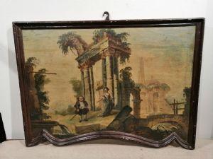 Capriccio du '700 sur bois avec figures caricaturales et cadre en forme
