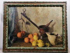 Peinture de la nature morte '900 signée par le peintre de Rimini Bianchi