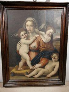 Allégorie de la charité du 16ème siècle toscan huile sur toile