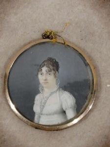 Miniature du XIXe siècle sur ivoire - portrait de femme