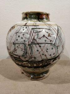 Vase bol en céramique représentant un ancien voilier intact avec éclats à la base - XVIe siècle