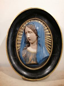Madone en céramique polychrome de la fin du XVIIIe siècle avec cadre en bois contemporain - Bottega Ballanti Graziani Faenza