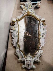 Paire de miroirs en majolique du XVIIIe siècle - Bassano
