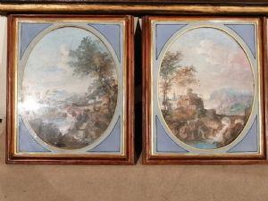 Deux paysages XIXème à la détrempe sur carton appliqué sur bois - Deux paysages XIXème à la détrempe sur bois - Vénétie