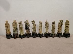 Collection de 10 figurines chinoises en stéatite de la fin du XIXe siècle - sculptures de sages