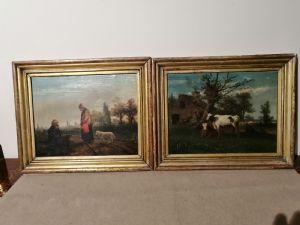 Paire de tableaux émiliens XIXème - Paysages avec personnages et animaux
