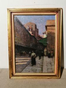Anacleto Della Gatta (Sezze 1868 - Carmignano 1932) - Ponte Vecchio fin XIXe siècle - Tableau signé