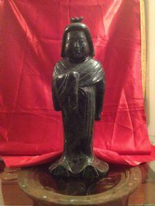 Dame en jade d'épinards verts. Japon Sec XIX