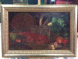 """peinture espagnole """"Still Life avec Lobster"""" signé et daté 1883"""