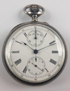 Montre de poche chronographe argent, fin 800