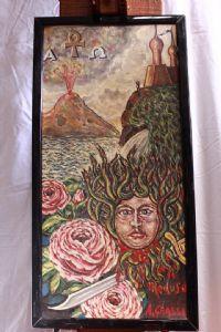 huile peinte sur le panneau Image « Méduse » huile de peinture siècle XX mythologique sur le panneau